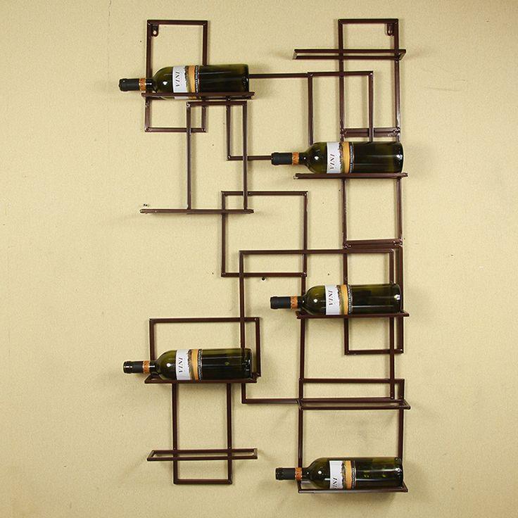 "24*44"" Black/Bronze Select Wall Mounted 9 Bottle Holder Racks Wine Glass Stand Home Bar Decor Beer Bottles Shelf Free Shipping"