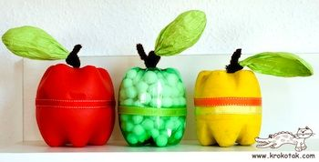 Apples made from the bottoms of 2 liter soda bottles.