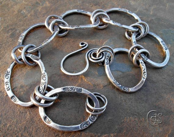 Solid Silver Chain Bracelet Handcrafted Thick by ArtandSoulJewelry