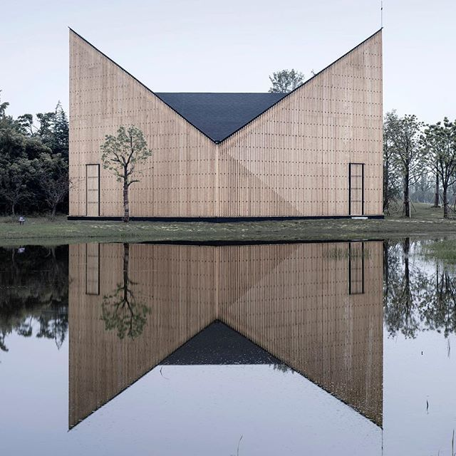 Our #ProjectOfTheDay is the Nanjing Wanjing Garden Chapel by AZL Architects/ This wonderful 200 square meter chapel made of wood and steel reflects onto Nanjing's calm riverfront, emphasizing the lightness of its construction/ Discover the full project on Architizer.com  .  .  .  .  #architizer #architecture #azlarchitects #nanjingwanjing #gardenchapel #china