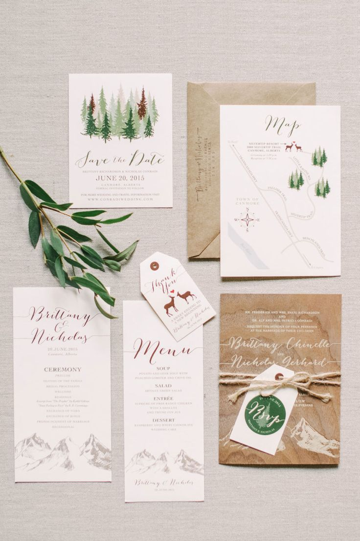 Woodland inspired wedding invitation suite: Photography : Corrina Walker Photography Read More on SMP: http://www.stylemepretty.com/canada-weddings/alberta/2016/02/12/pink-woodland-fairytale-mountain-wedding/