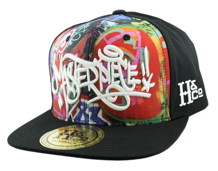 H&CO Collection. Masterpiece Adjustable Snapback Caps made from 100% Cotton in Black. Graffiti Design. Undervisor in Black. Embroidery in White. Inspired by hip hop. Show some love with a graffiti sna