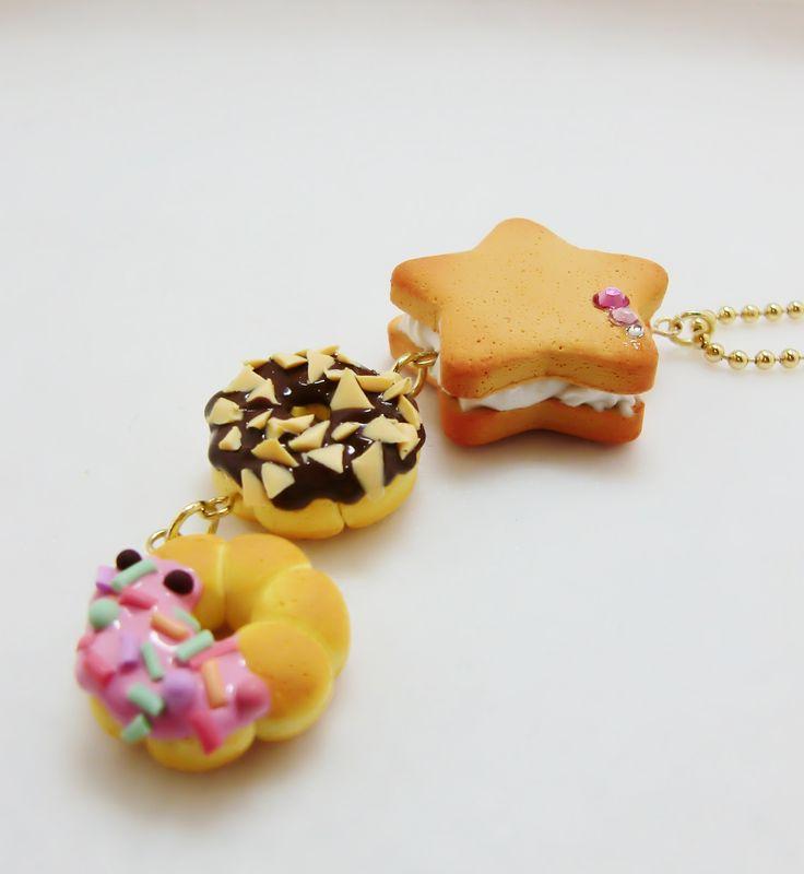 Polymer clay sweet treats keychain~