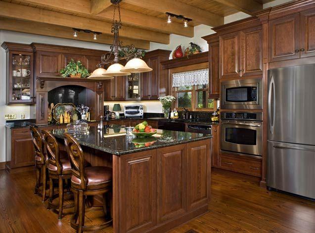 Photos Of A Florida Log Home | Dark Countertops, Dark Wood Cabinets And Dark  Wood