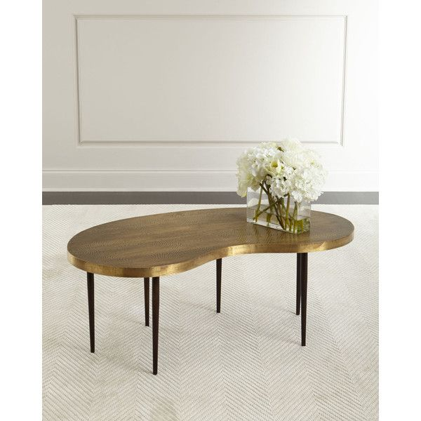 Arteriors Rein Brass Coffee Table (12 150 SEK) ❤ liked on Polyvore featuring home, furniture, tables, accent tables, arteriors furniture, brass accent table, brass table, patina furniture and kidney table