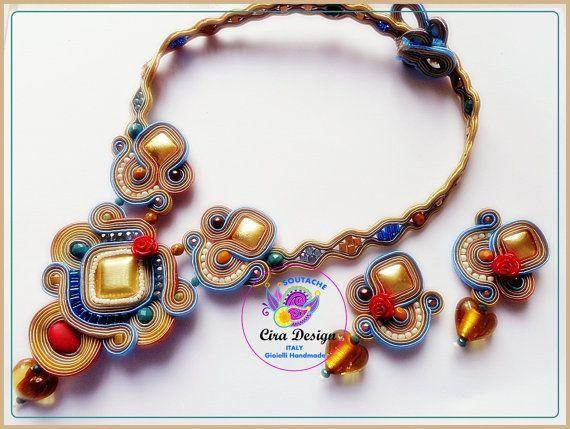 Necklace statement earrings set boho Jewelry Soutache Statement embroidered High Fashion handmade Bohemian Jewelry Beadwork Birthday Gift