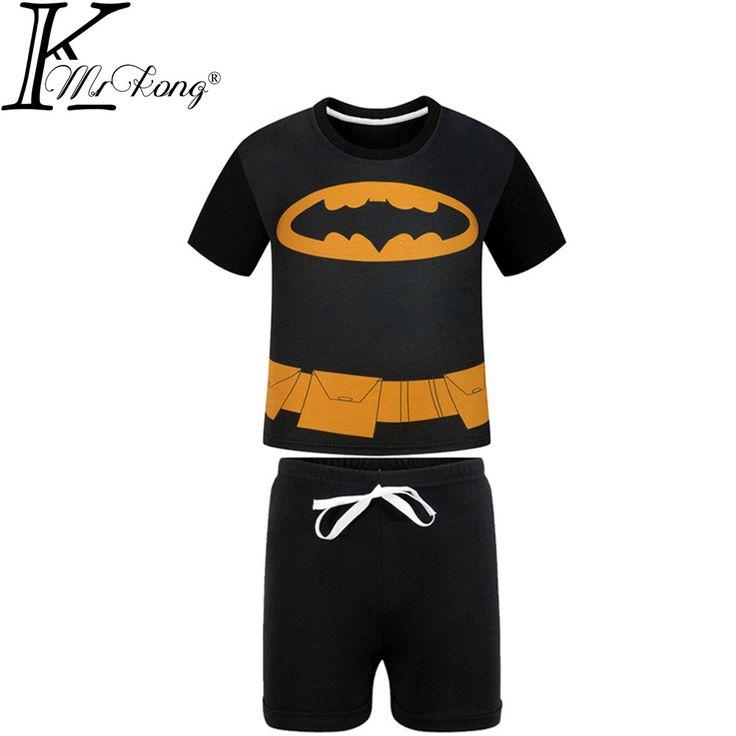 Summer 3-10 Y Boys Clothes Toddler Girl Clothing Set Batman Kids Clothes Cartoon T Shirt + Shorts Children Clothing Sport Suit