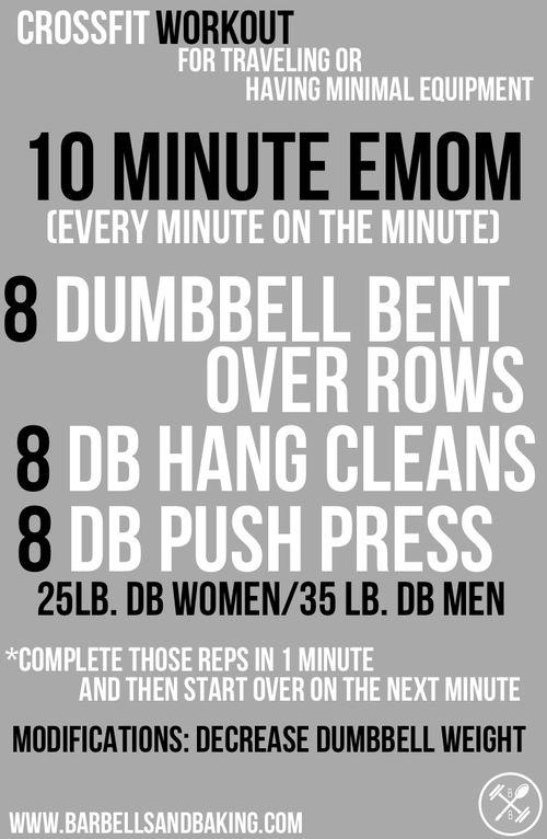 CrossFit Workouts for Traveling or Having Minimal Equipment | 10 Minute EMOM | www.barbellsandbaking.com