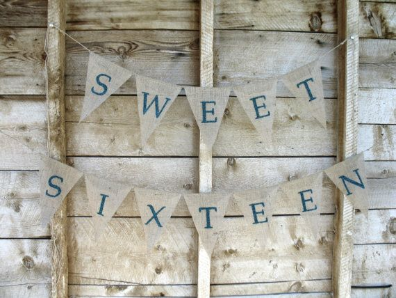 Sweet Sixteen Birthday Banner burlap bunting photo by atCompanyB, $40.00