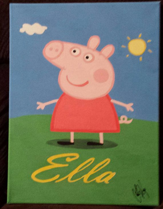 Peppa Pig Personalized Name Canvas Painting by PrimitivePaintings