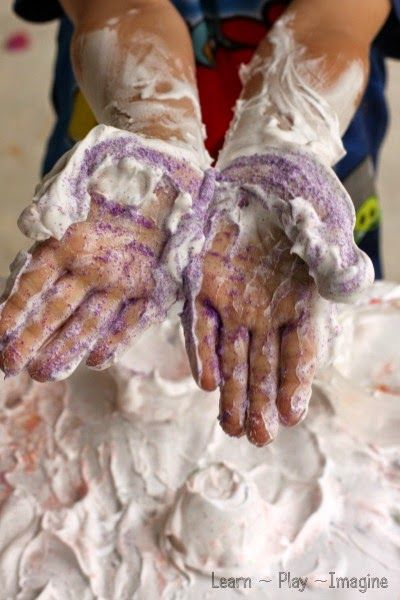 Textured sensory play with shaving cream.  It's amazing how adding one simple ingredient puts a fun twist on a classic favorite.