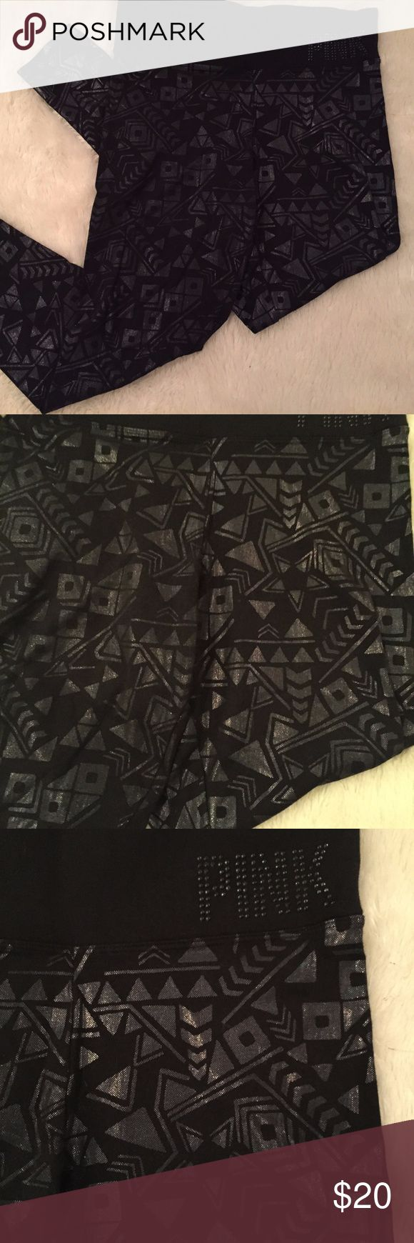 """VS Pink Black Metallic Tribal Print Leggings Great condition leggings from VS Pink. Very unique metallic black tribal print pattern all over with a rhinestone """"PINK"""" on the waistband.   Measurements: Waistband: 14.5"""" Inseam: 27.5"""" PINK Victoria's Secret Pants Leggings"""
