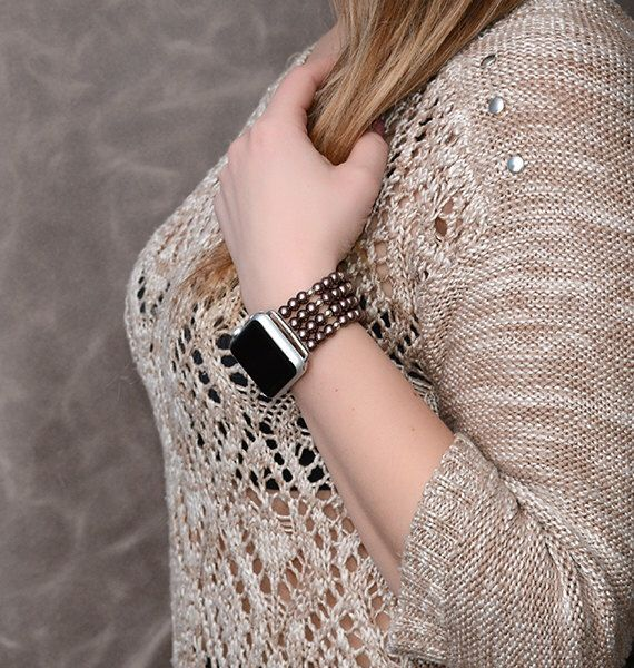 Apple Watch Band 42mm, 38mm apple watch strap accessories, rose gold lugs adapter, no clasp stretch fit iwatch band silver, iwatch strap by RainbowAppleStudio on Etsy https://www.etsy.com/listing/501166179/apple-watch-band-42mm-38mm-apple-watch
