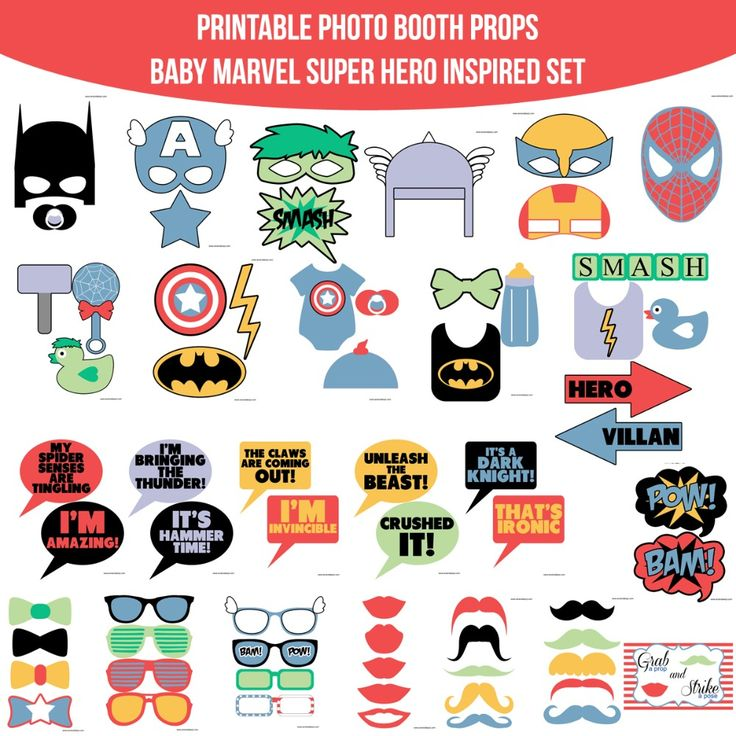 Instant Download Baby Marvel Super Hero Inspired Printable Photo Booth Prop Set for $4.99 #onselz www.amandakeyt.com/shop