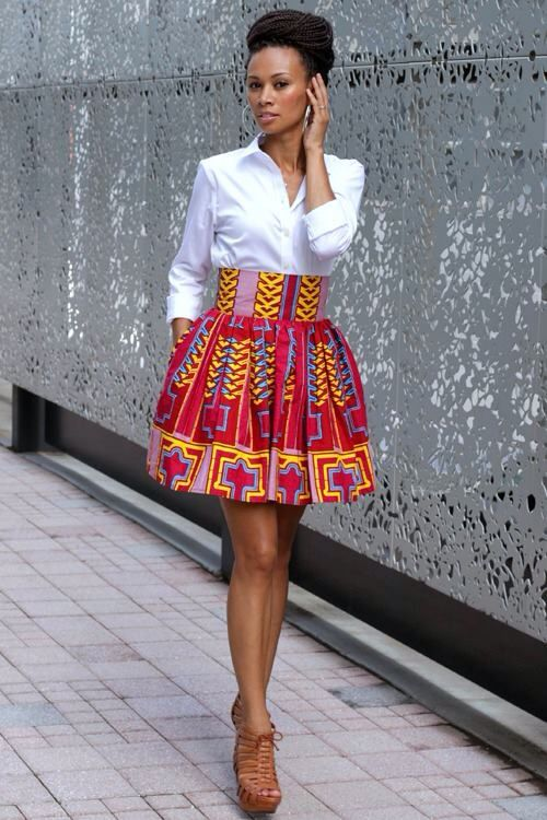 African fashion- Love the high waisted skirt with the simple white button down