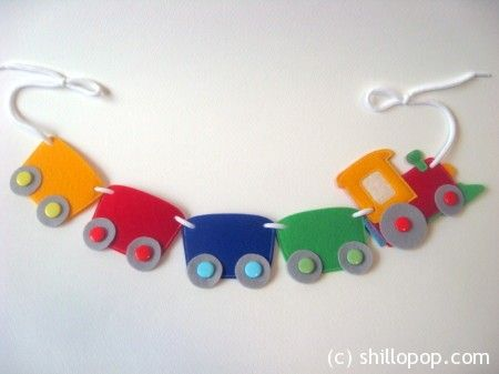 Choo Choo Train felt banner PDF pattern Train felt toy