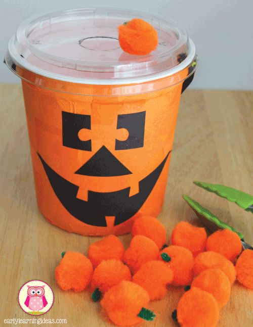 fall fine motor activities - feed the jack-o-lantern activity. Seven fun and exciting ways to work on fine motor skills this fall.  Halloween themed fine motor activity ideas for preschool,pre-k, kindergarten, tot school, and early childhood education.