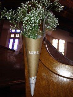 kraft paper cone with baby's breath rustic church wedding decor