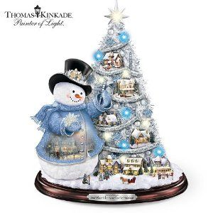 Thomas Kinkade Snowman Pre-Lit Christmas Tree: Sno' Place Like Home For The Holidays by The Bradford Exchange by Bradford Exchange. $129.99. Celebrate the magic of the holidays with the first-ever Thomas Kinkade snowman, village and pre-lit tree tabletop decor, available only from The Bradford Exchange. Tree is lavished with 50 color-matched ornaments, 15 glowing blue and white mini-lights, silvery garland, and an illuminated sculptural star topper. Manufacture...