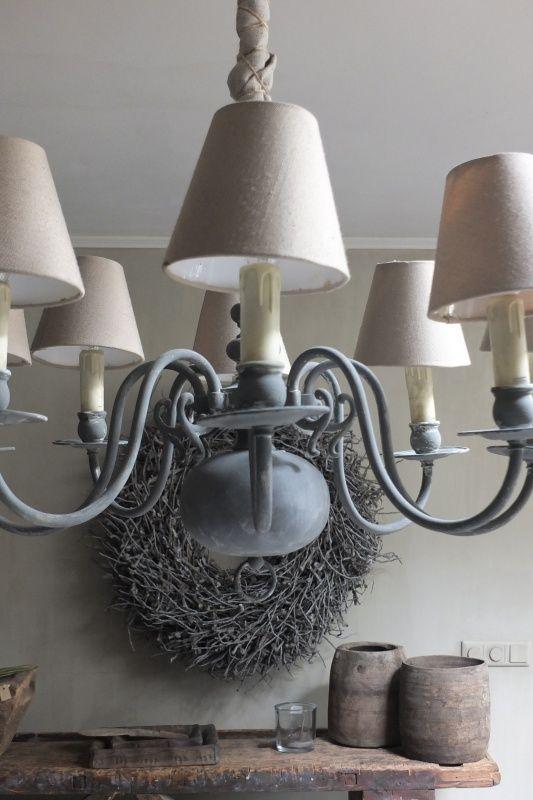 Kroonluchter koper - kleur Olive, Graphite en Old White | - Annie Sloan voorbeelden | Styling & Living