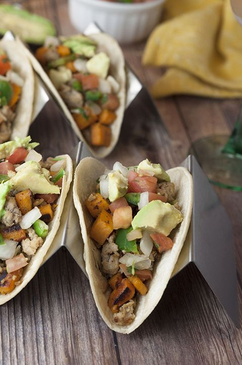 Colorful and healthy sweet potato tacos recipe that is gluten free, vegetarian, and an easy meal for Mexican food or taco night. Add ground turkey for some protein! @TKmeals #arecipeforreallife #ad