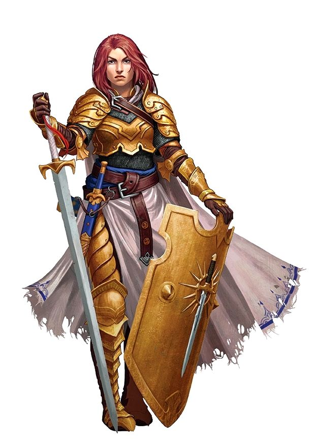 Female Paladin or Warpriest or Cleric of Iomedae - Pathfinder PFRPG DND D&D d20 fantasy