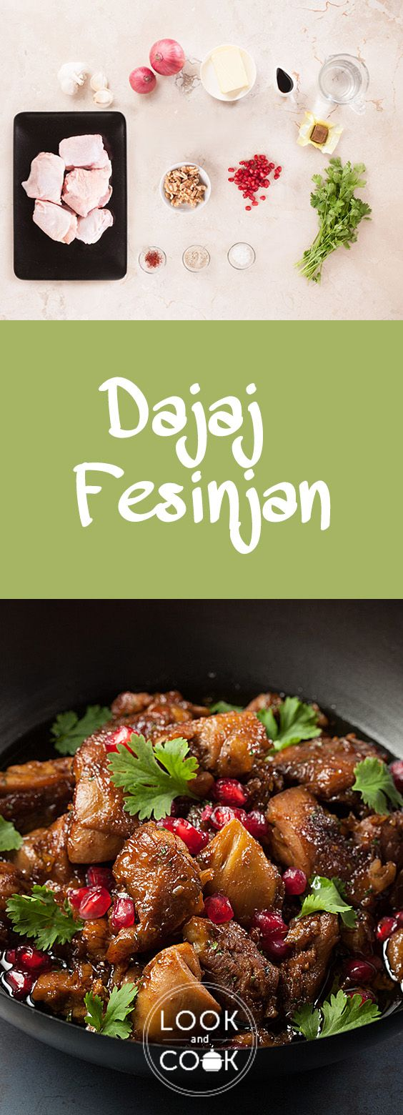 DAJAJ FESENJAN RECIPE (LC14288) - Chicken is cooked in pomegranate molasses with finely ground walnuts to make Dajaj Fesinjan. This is usually served with steamed rice or Arabic bread.""