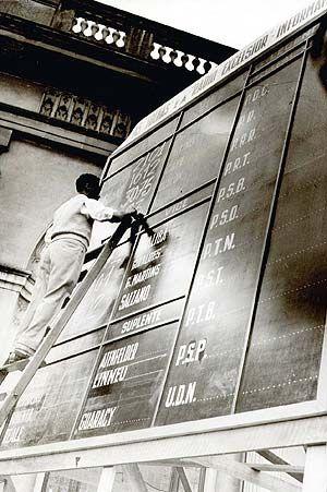 Homem escreve em tabuletas eleitorais os resultados da apuração das eleições de 1950. Folha Imagem out 1950