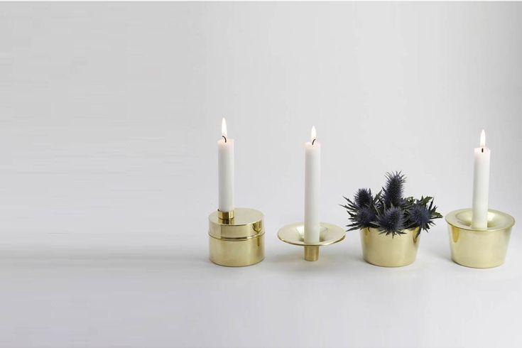 Candle jar and Candle case of brass. Design Anya Sebton and Eva Lilja Löwenhielm