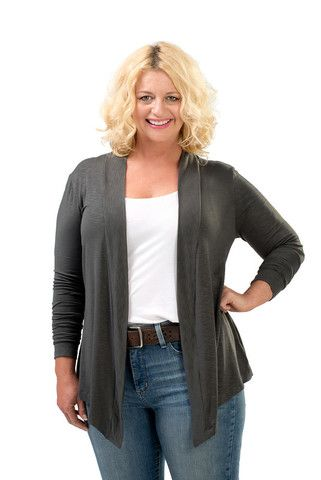 The Lola Open Cardigan Sweater in Charcoal. A fall must have. Sizes 12/14 and 16/18. Made in USA. On Sale Now at www.charlieagogo.com