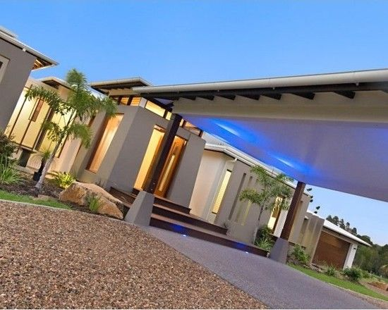 Charming Resort Design with Contemporary Look: Contemporary Pavilion House Exterior Asian Landscape LED Lighting