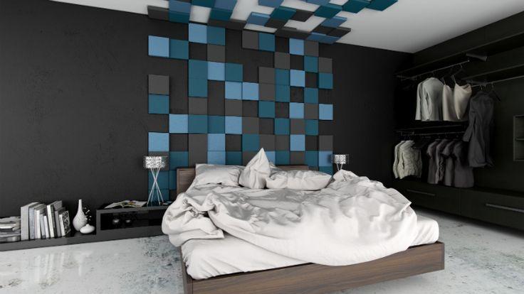 Nietypowa ściana w sypialni - miękkie panele ścienne Fluffo na ścianie w sypialni.