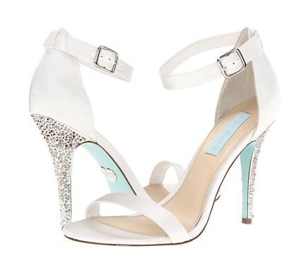 Blue-soled bridal shoes from Betsy Johnson.