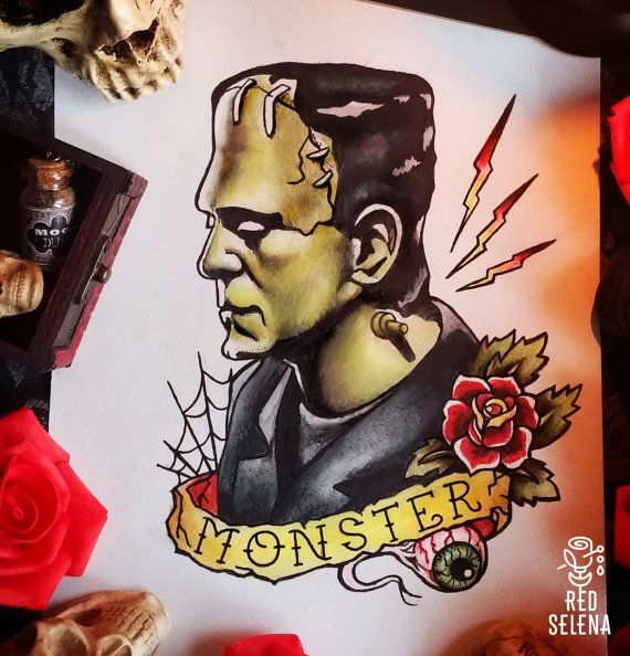 Original aquarelle and ink portrait of Frankenstein. Size is 21x30 cm or 8,2x12 inches. Its A4 international paper size.  All arts are made by me. All arts are shipped by air mail within 7-10 business days after payment.