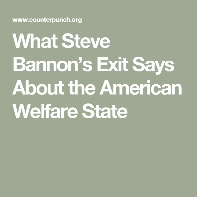 What Steve Bannon's Exit Says About the American Welfare State