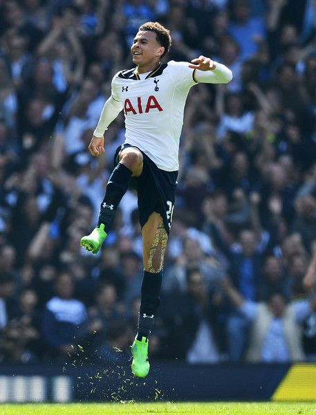 Dele Alli of Tottenham Hotspur celebrates scoring his sides first goal during the Premier League match between Tottenham Hotspur and Watford at White Hart Lane on April 8, 2017 in London, England.