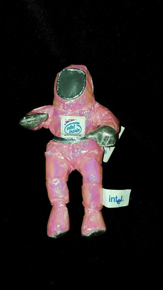 Astronaut Bean Bag Collectible Intel Inside Pentium II Metallic Pink Plush Tags #Intel
