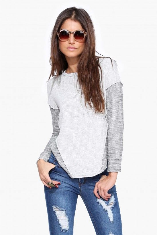 So What Long Sleeve Terry Top in Grey | Necessary Clothing