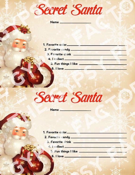 Secret santa questionnaire invitation form gift