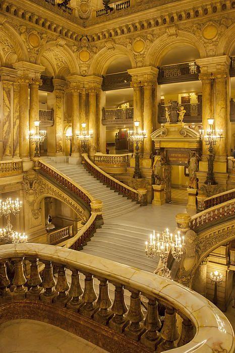 Grand staircase entry to Palais Garnier - Opera House, Paris France