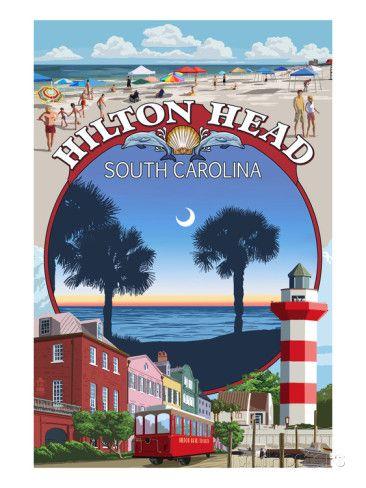 Hilton Head South Carolina Montage Print By Lantern