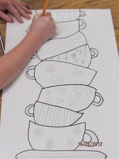 Mary Cassatt & Stacked Tea Cup lesson -Art Julz: Jeder malt eine Teetasse, dann werden sie übereinander gestapelt. Werde Designer! :)
