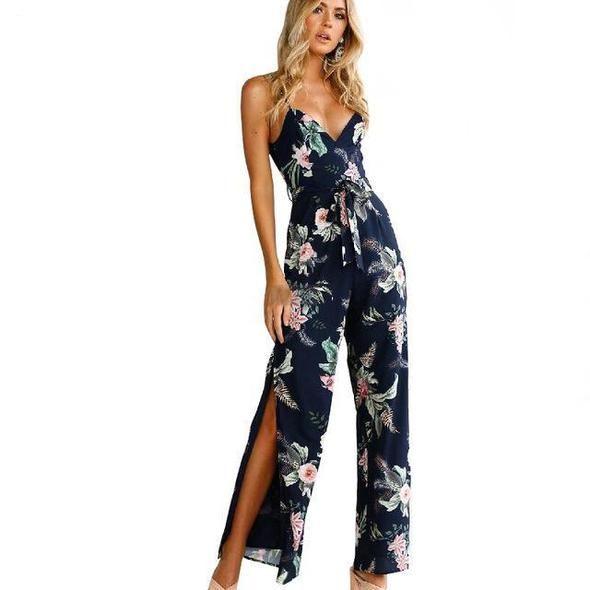 Nadafair Spaghetti Strap V Neck Backless High Split Floral Print Long Pants Women Summer Casual Jumpsuit