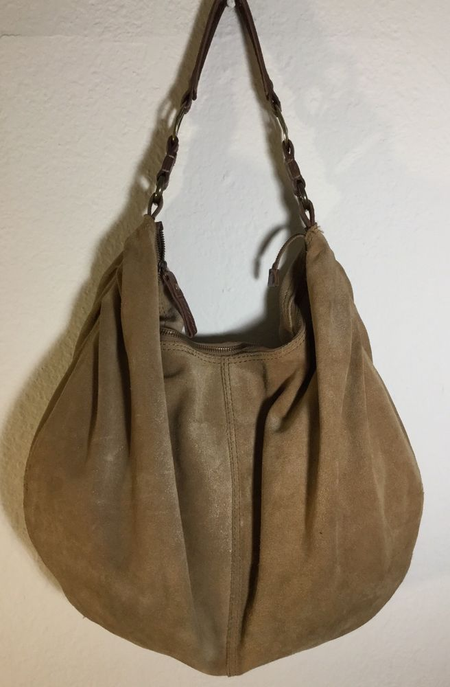 7304a0babadb Lucky Brand Hobo Bag Extra Large Tan Suede Leather Peace Strap Shoulder  Carry