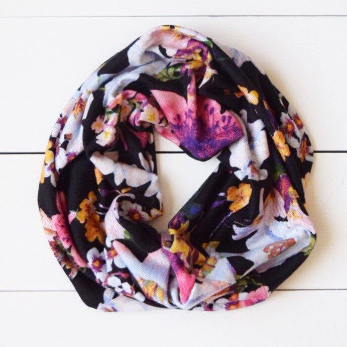 Floral Beautiful Baby Infinity Scarf - Multi Color Toddler Floral Scarf by ScallywagBabyCo on Etsy https://www.etsy.com/listing/250182577/floral-beautiful-baby-infinity-scarf