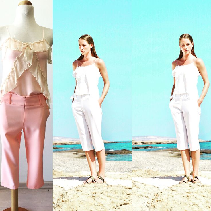 Give your summer taste with pastel and white color White or peach Total look by Cristina Karekla Collection www.cristinakarekla.com