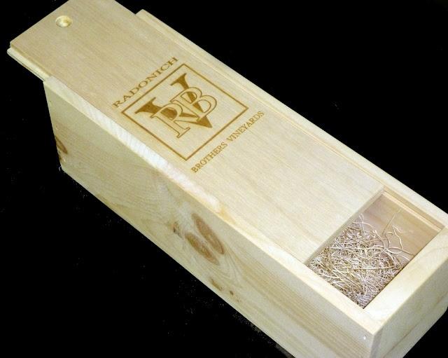 Radonich Brothers Vineyards slide-top magnum single bottle custom wooden wine crate