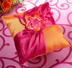 Hot Pink and Orange Ring Bearer Pillow