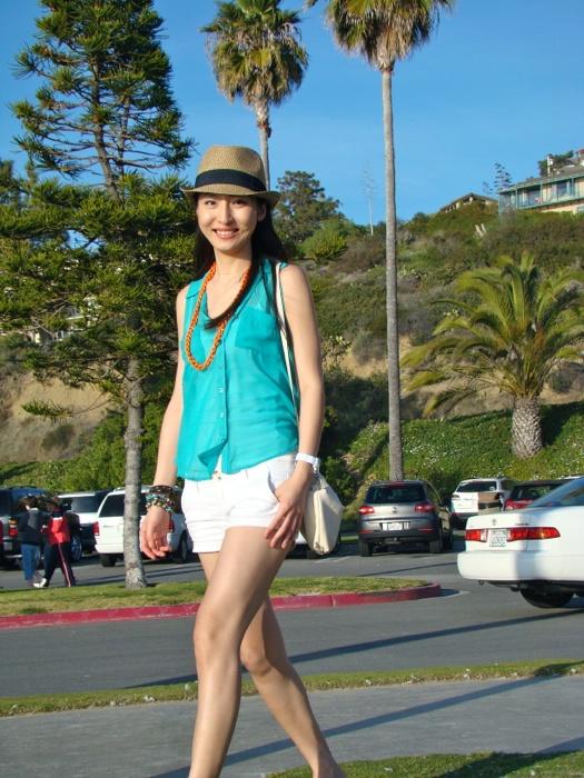 My beach outfit-Jade green top & White short & Neon orange chunky chain