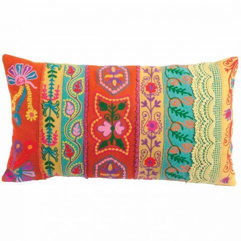 Fabulous Folk Cushion in Aqua Mustard and Orange - Casafina